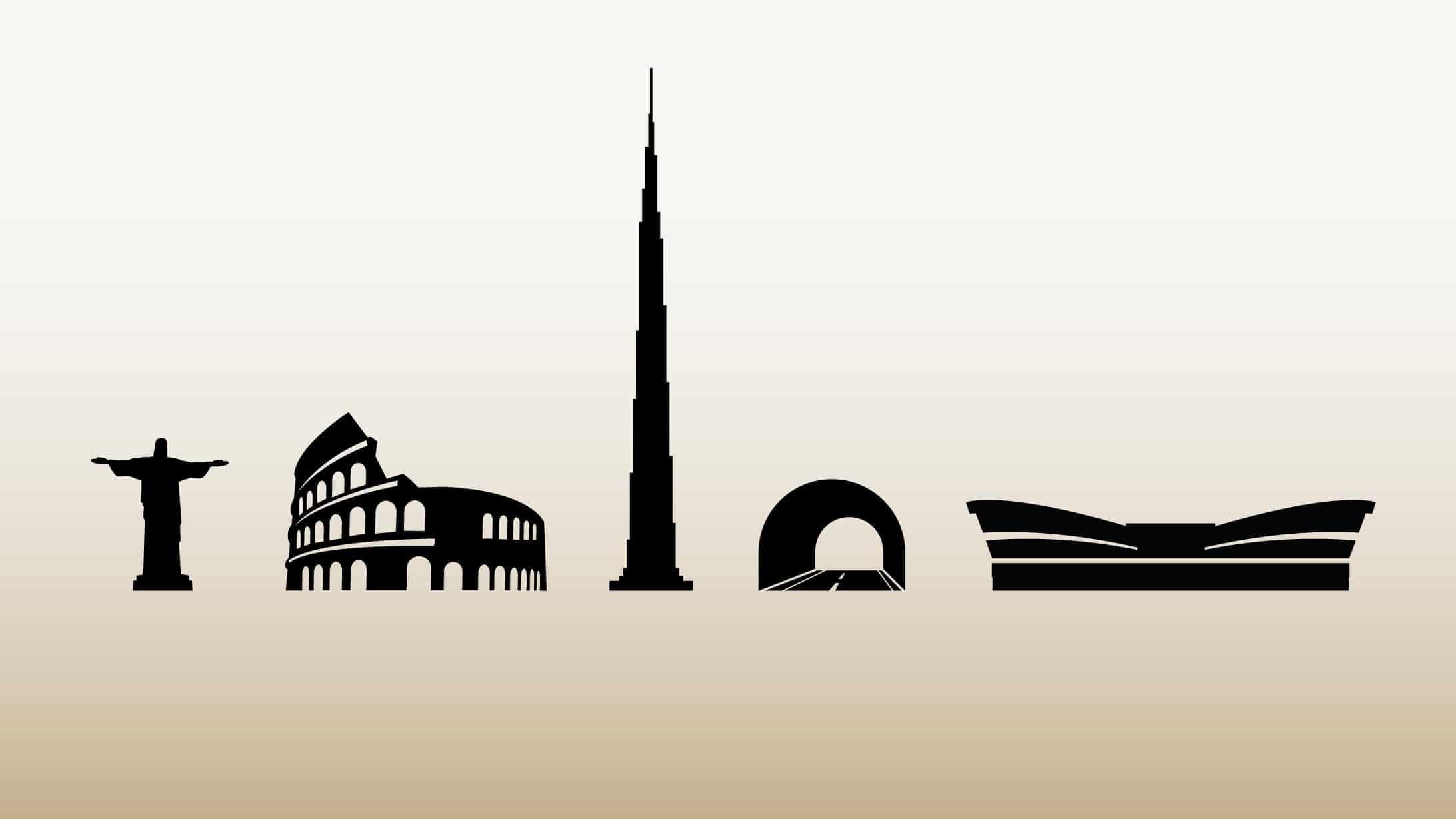 Infografik mit verschiedenen Bauten