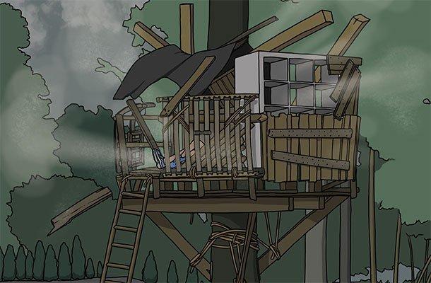 Illustration eines Baumhauses
