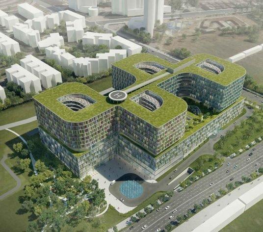 Aufnahme eines modernen Spitals von oben