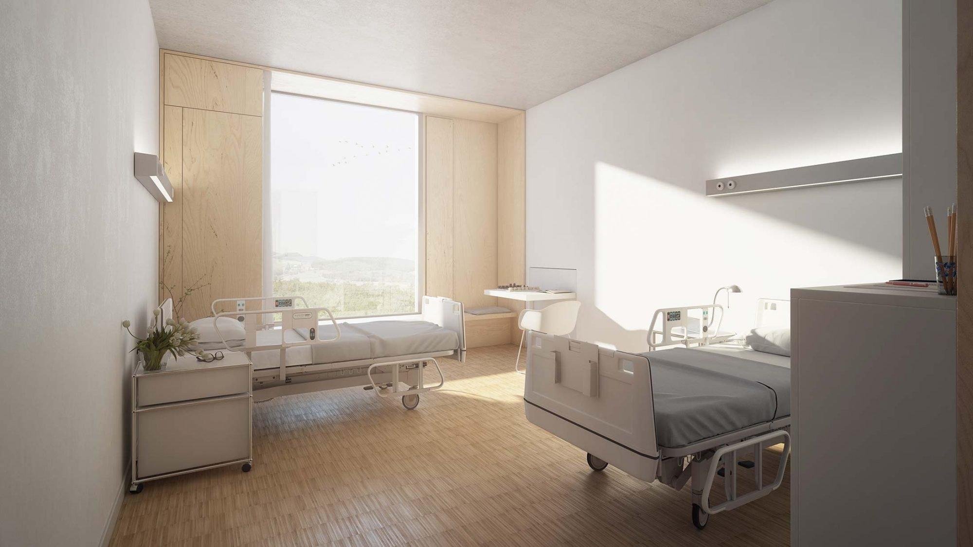 KSB- Neubau Illustration Patientenzimmer