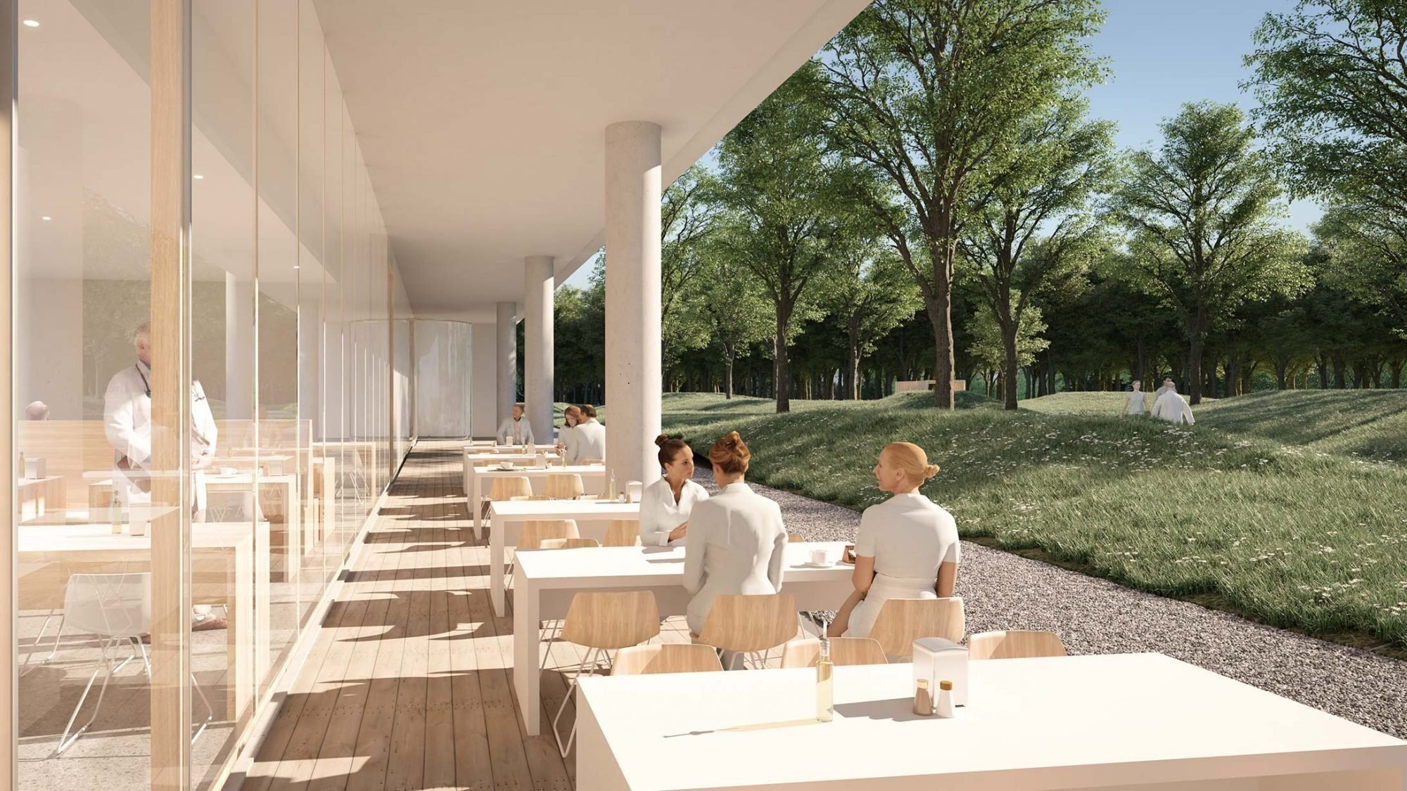 Visualisierung KSB Neubau: Cafeteria von aussen
