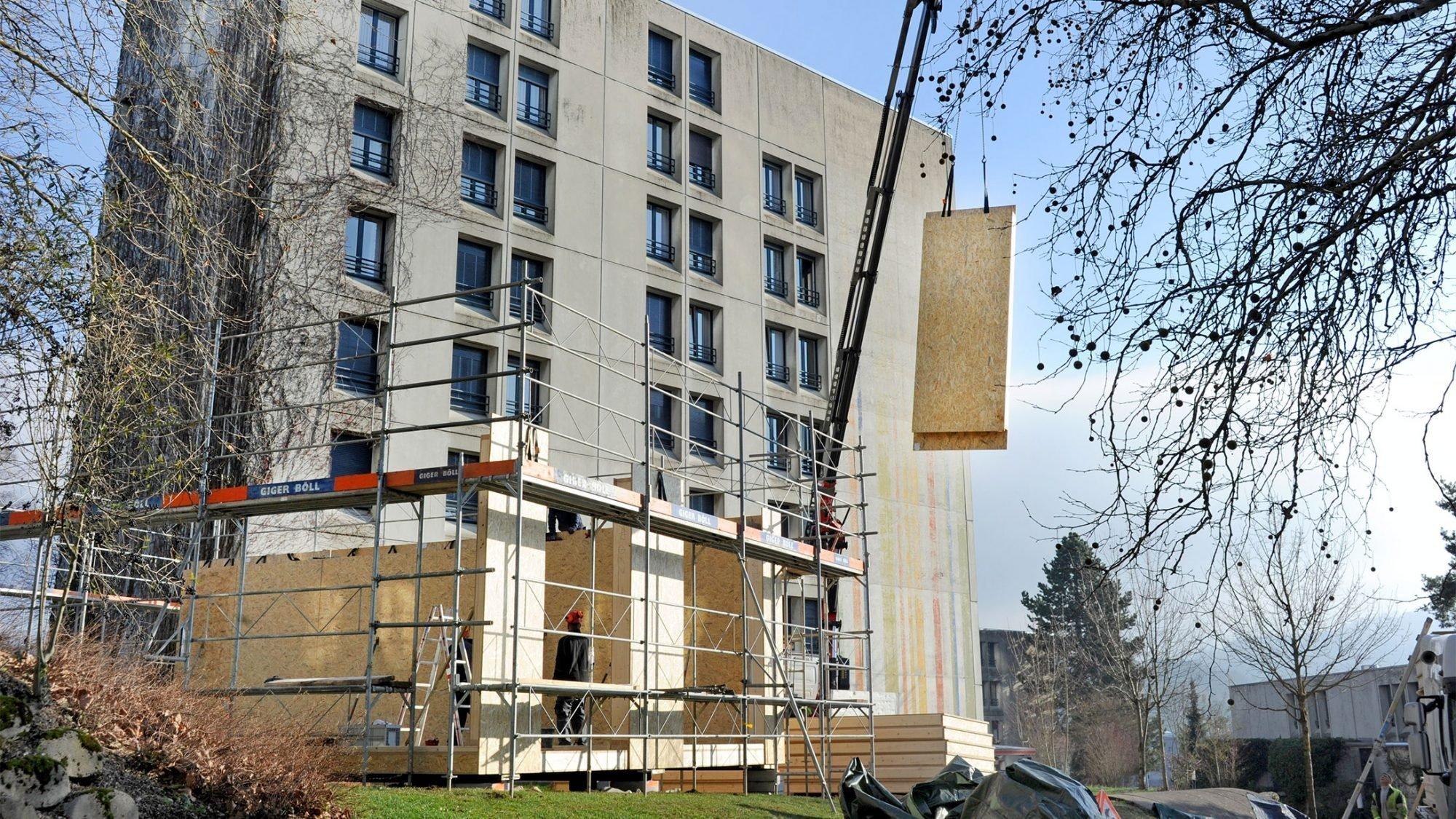 Holzpavillon im Bau