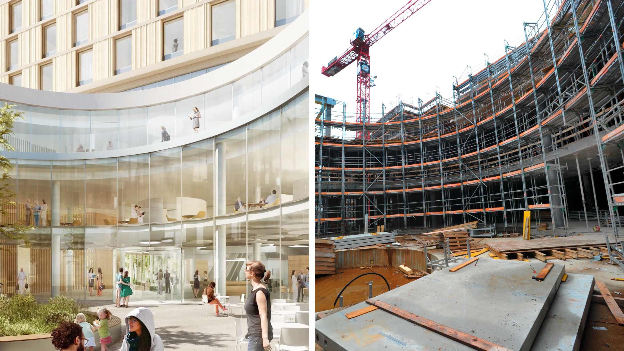Der aktuelle Stand auf der Baustelle wird verglichen. Hier: Der Eingangshof