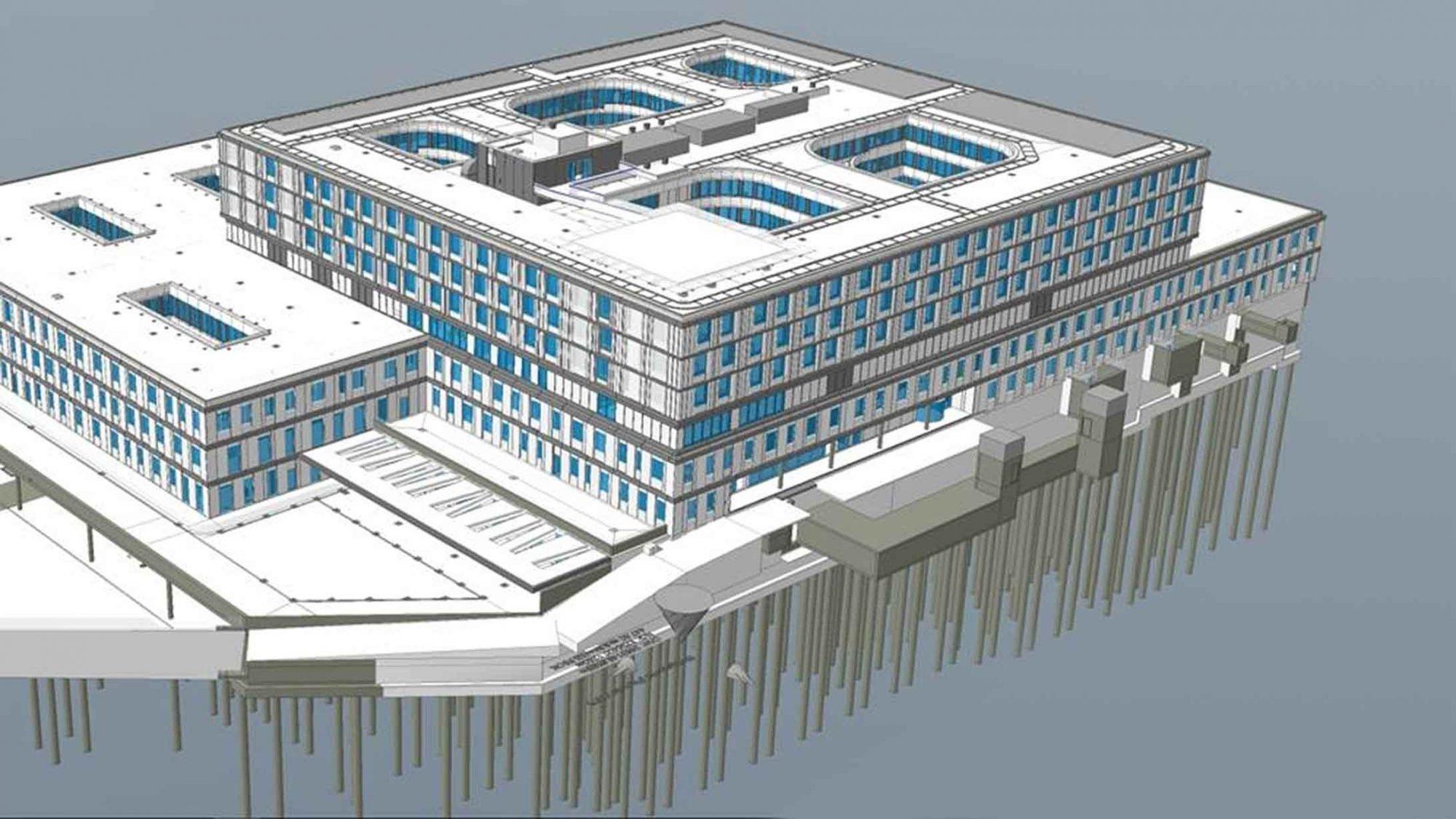 Visualisierung der 830 Betonpfähle