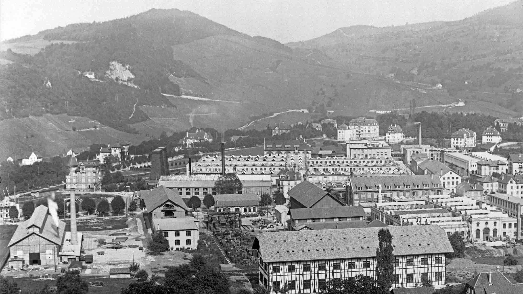 Schwarzweissbild des Fabrikgelände der BBC in Baden um 1907